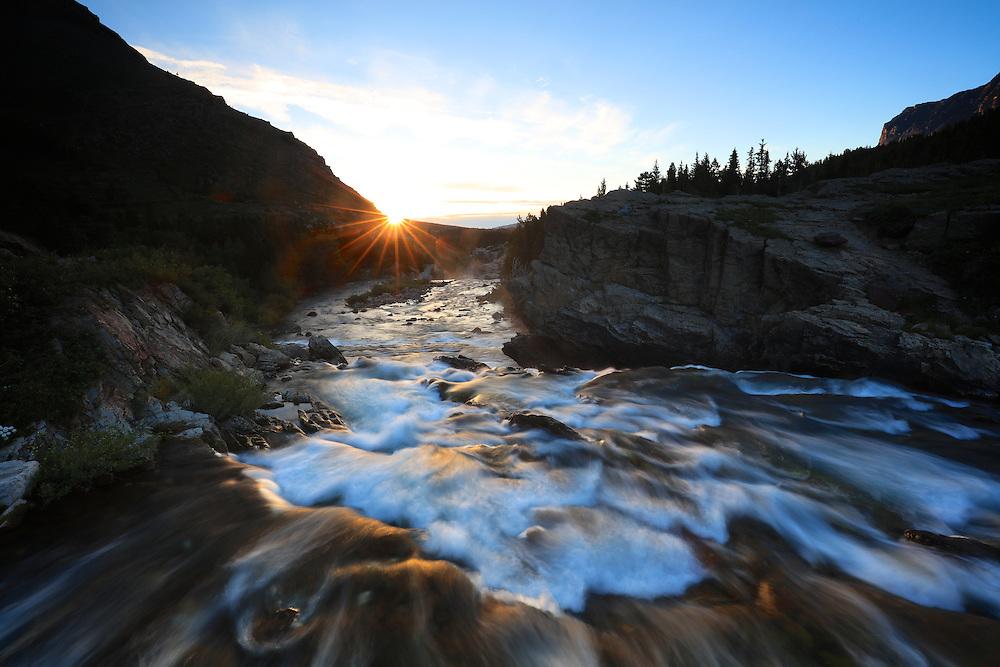 Swiftcurrent Falls Sunrise in Glacier National Park