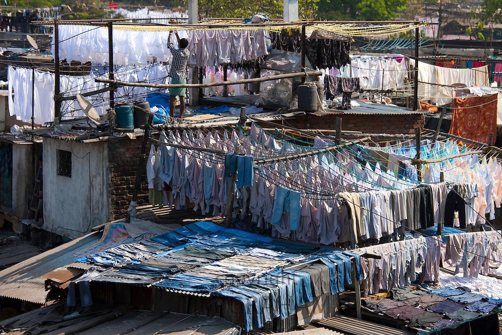 Traditional Indian professional hand laundry, Dhobi Ghat, in Mahalaxmi area of Mumbai, India