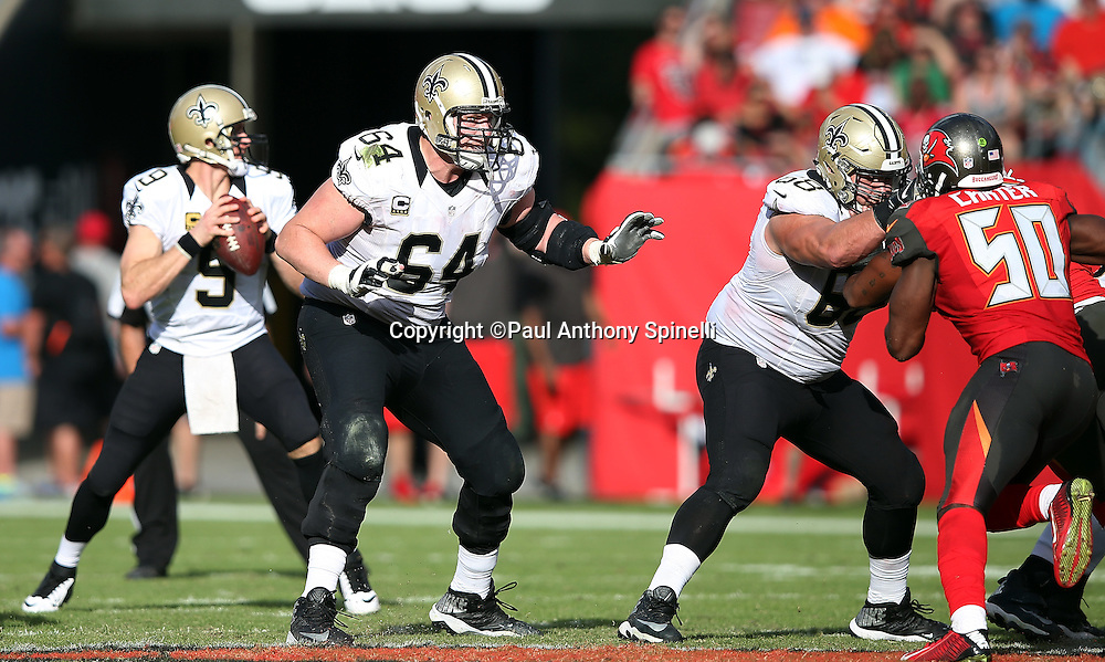 New Orleans Saints tackle Zach Strief (64) pass blocks set during the 2015 week 14 regular season NFL football game against the Tampa Bay Buccaneers on Sunday, Dec. 13, 2015 in Tampa, Fla. The Saints won the game 24-17. (©Paul Anthony Spinelli)