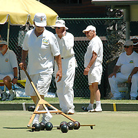 Competitors bowl during the Inaugural  Fidelity Triples Lawn Bowling Tournament on  Sunday, July 1, 2007 at the Santa Monica Green at Douglas Park.