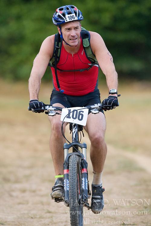 CHARLOTTESVILLE, VA - August 17, 2008 - JERRY O'BRIEN (106) in the 2008 Charlottesville XTERRA Triathlon was held at Walnut Creek Park in Albemarle County near Charlottesville, Virginia, USA.