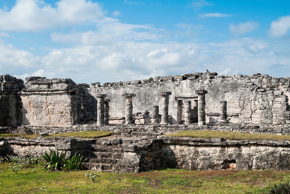 Temple of the Columns, Site of Tulúm, Quintana Roo, Mexico.