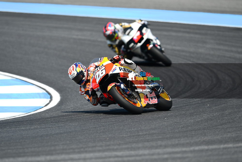 BURIRAM, THAILAND - OCTOBER 06: Dani Pedrosa (26) of Spain and Repsol Honda Team in Turn 3 during FP3 at the MotoGP PTT Thailand Grand Prix 2018, Chang International Circuit, Buriram, Thailand on October 06, 2018. <br /> .<br /> .<br /> .<br /> (Photo by: Naratip Golf Srisupab/SEALs Sports Images)<br /> .<br /> Any image use must include a mandatory credit line adjacent to the content which should read: Naratip Golf Srisupab/SEALs Sports Images