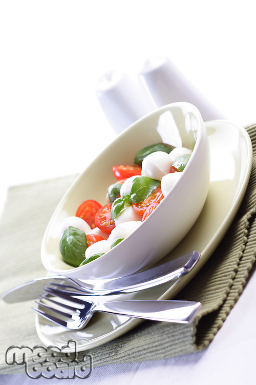 Studio shot of tomato and mozarella salad