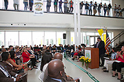 Principal of Sharpstown HS, Dan De Leon, speaking at Grand Opening of new school building. May 3, 2018.