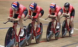 Team Breeze (left-right) Jessica Roberts, Rebecca Raybould, Jenny Holl and Abigail Dentus, on their way to qualifying 1st in the Women's Team Pursuit, during day two of the HSBC UK National Track Championships at The National Cycling Centre, Manchester. PRESS ASSOCIATION Photo. Picture date: Saturday January 27, 2018. Photo credit should read: Martin Rickett/PA Wire