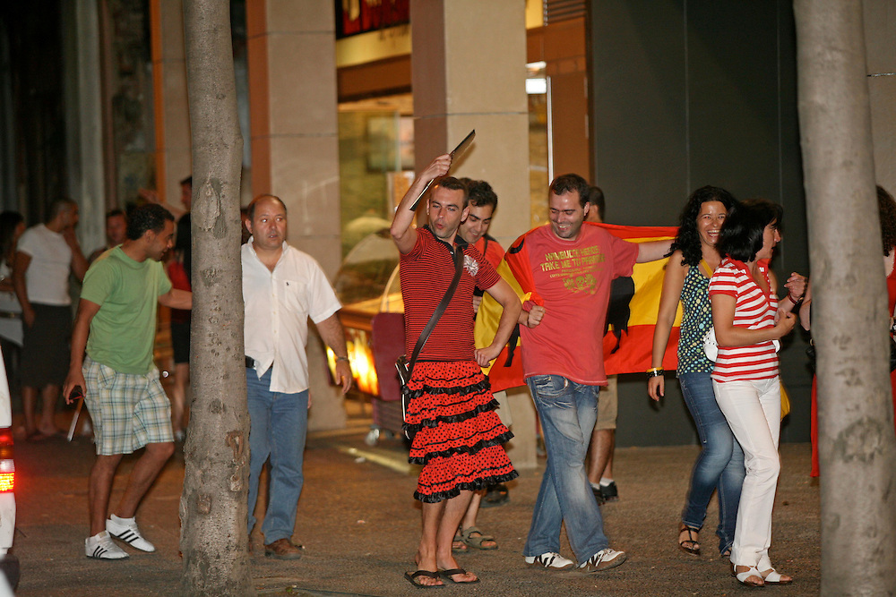 Fans of the Spanish football national team celebrates the victory in the final of the European championship obtained against Germany. Girona. Catalonia. Spain.Fans of the Spanish national team in a game.