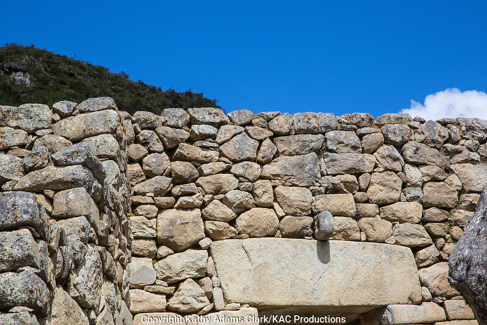 Gate, main entrance, to the Royal Sector of Machu Picchu, Lost City of the Incas, in the Andes Mountains, of Peru.