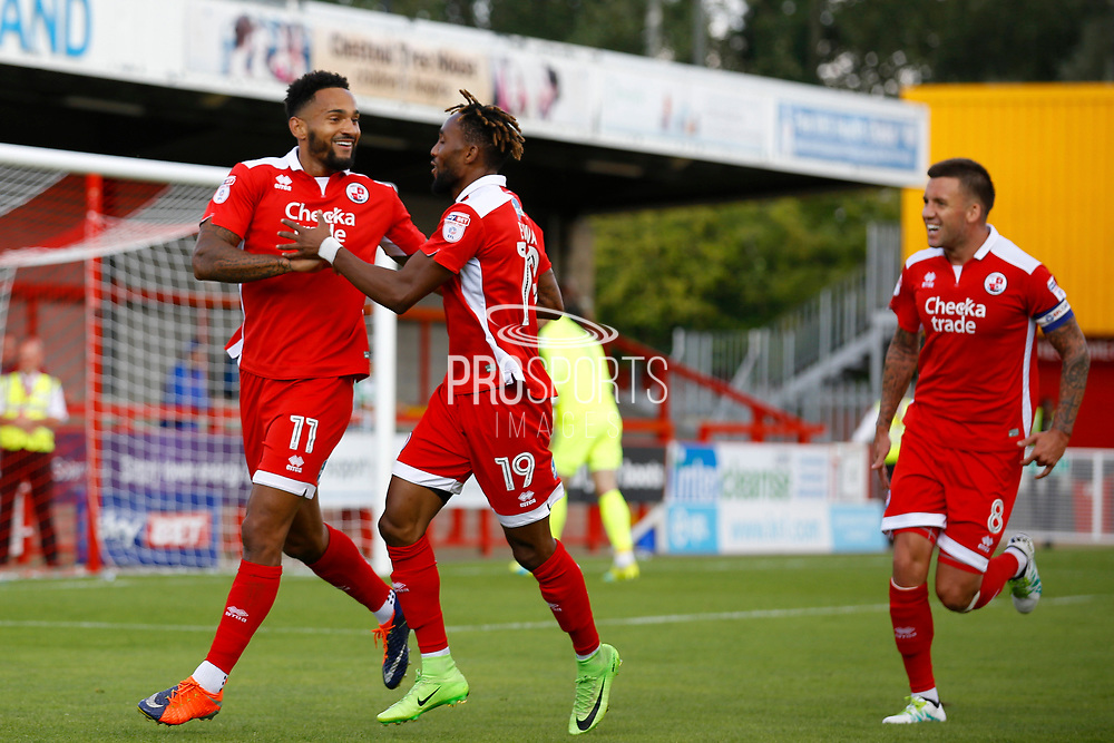 Crawley Town midfielder Jordan Roberts (11) celebrates his goal (score 1-0) during the EFL Sky Bet League 2 match between Crawley Town and Yeovil Town at the Checkatrade.com Stadium, Crawley, England on 2 September 2017. Photo by Andy Walter.