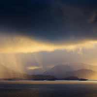 Dawn rain over Knoydart and Mallaig from Armadale on the Isle of Skye