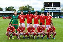 RHYL, WALES - Monday, September 4, 2017: Wales' players line-up for a team group photograph before the Under-19 international friendly match between Wales and Iceland at Belle Vue. Back row L-R: goalkeeper George Ratcliffe, Brandon Cooper, Adam Sharif, Rhys Norrington-Davies, Sion Spence, captain Mitchell Clark. Front Row L-R: Daniel Mooney, Dylan Levitt, Kieran Holsgrove, Robbie Burton, Keiran Evans. (Pic by Paul Greenwood/Propaganda)