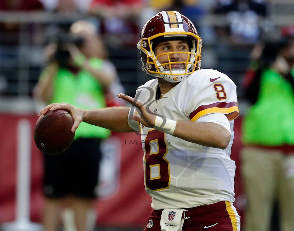 Washington Redskins quarterback Kirk Cousins (8) during an NFL football game against the Arizona Cardinals, Sunday, Dec. 4, 2016, in Glendale, Ariz. (AP Photo/Rick Scuteri)