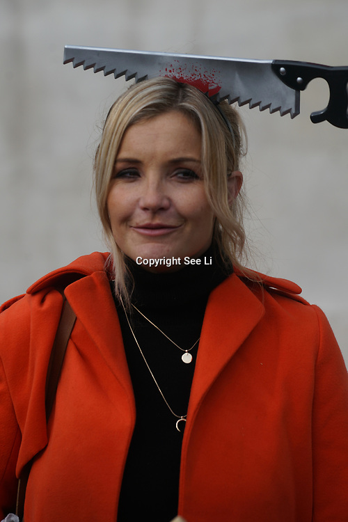 London, UK. 31st October 2017.  Helen Skelton is a formal BBC children's programme Blue Peter from 2008 until 2013 join the Mummies demonstrations across the UK organised by Pregnant Then Screwed on pregnancy and maternity discrimination.
