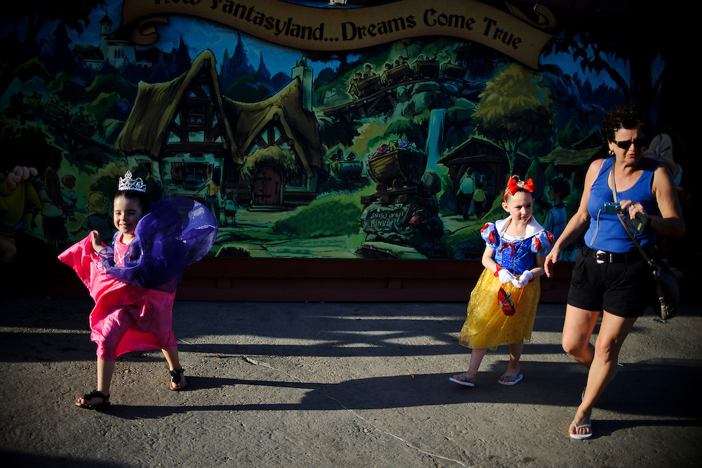 photo by Matt Roth.Tuesday, May 1, 2012..A little girls dress like princesses, one of which is dressed like Snow White at Disney World in Orlando, Florida Tuesday, May 1, 2012.  After forty-one-years, Disney World is closing the Snow White's Scary Adventure ride June 1st of this year.
