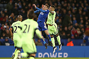Leicester City forward Jamie Vardy  and Manchester City defender Nicolas Otamendi challenge for the ball during the Barclays Premier League match between Leicester City and Manchester City at the King Power Stadium, Leicester, England on 29 December 2015. Photo by Simon Davies.