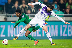 Abass Issah of NK Olimpija Ljubljana and Aleksander Rajcevic of NK Maribor during football match between NK Olimpija Ljubljana and NK Maribor in 1st leg match in Quaterfinal of Slovenian cup 2017/2018, on November 11, 2017 in SRC Stozice, Ljubljana, Slovenia.  Photo by Ziga Zupan / Sportida