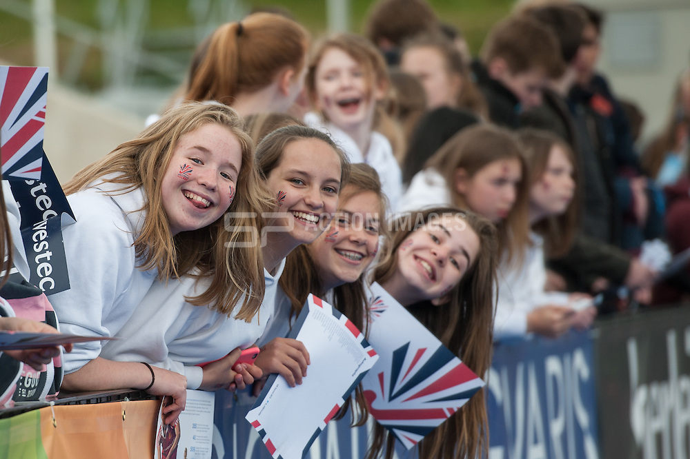 Great Britain v Japan - Schools Event, Lee Valley Hockey & Tennis Centre, London, UK on 27 April 2015. Photo: Simon Parker