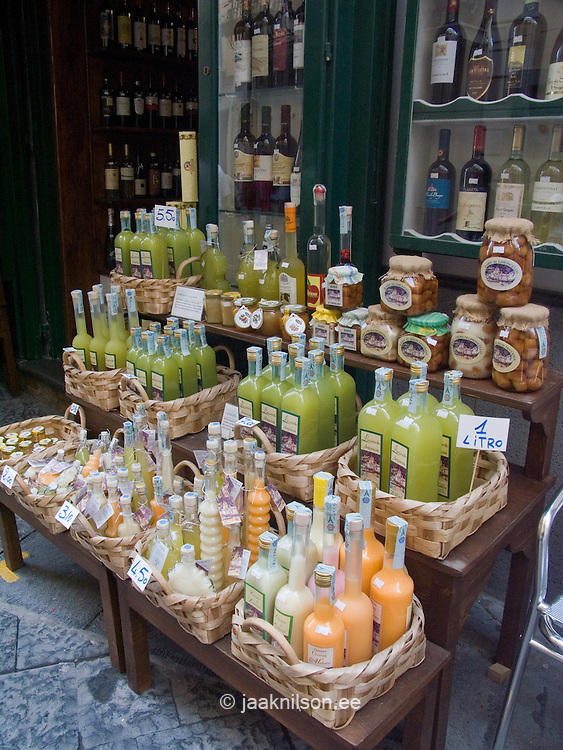 Limoncello bottles, Amalfi, Amalfi Coast, Campania, Italy, Europe, World Heritage Site