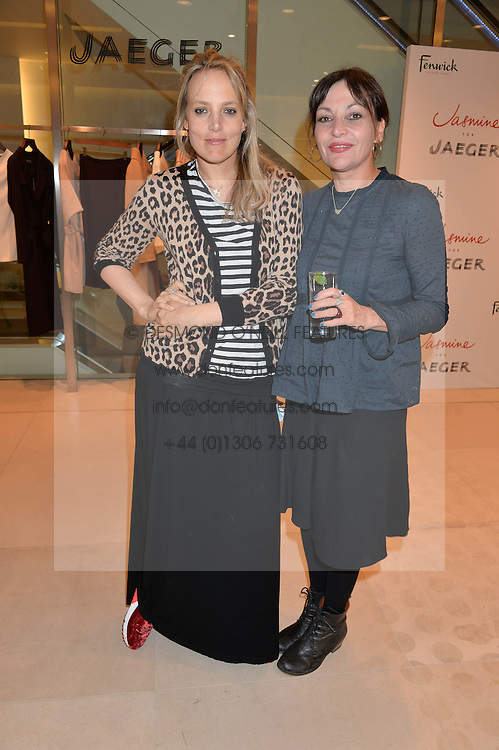 Left to right, BAY GARNETT and PEARL LOWE at the launch of the 'Jasmine for Jaeger' fashion collection by Jasmine Guinness for fashion label Jaeger held at Fenwick's, Bond Street, London on 9th September 2015.