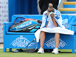 Karolina Pliskova of Czech Republic looks dejected during a break in the final Aegon International Eastbourne tennis tournament - Mandatory by-line: Paul Terry/JMP - 25/06/2016 - TENNIS - Devonshire Park - Eastbourne, United Kingdom - Dominika Cibulkova v Karolina Pliskova - Aegon International Eastbourne