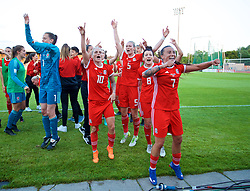 NEWPORT, WALES - Tuesday, June 12, 2018: Wales players celebrate after beating Russia 3-0 during the FIFA Women's World Cup 2019 Qualifying Round Group 1 match between Wales and Russia at Newport Stadium. Jessica Fishlock, Rhiannon Roberts, Angharad James, Natasha Harding. (Pic by David Rawcliffe/Propaganda)