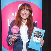 NLD/Amsterdam/20150518 - Uitreiking Storytel Luisterboek Award , Beatrice van der Poel met haar award