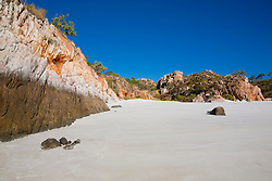 The pristine white sands of Silica Beach in the Buccaneer Archipelago.