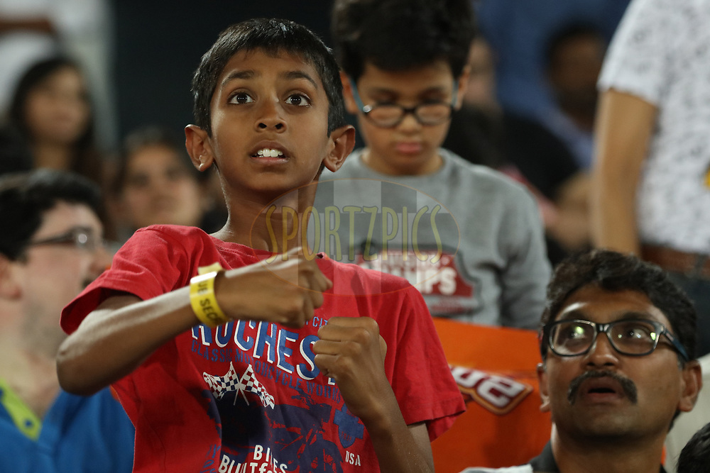 fans enjoying during match twenty five of the Vivo Indian Premier League 2018 (IPL 2018) between the Sunrisers Hyderabad and the Kings XI Punjab  held at the Rajiv Gandhi International Cricket Stadium in Hyderabad on the 26th April 2018.<br /> <br /> Photo by Saikat Das /SPORTZPICS for BCCI