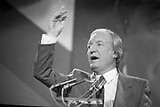 Fianna Fáil Árd Fheis.  (R31)..1986..19.04.1986..04.19.1986..19th April 1986..The Fianna Fáil party held their Árd Fheis at the Simmonscourt, RDS,Dublin over this weekend. the keynote address was given by the party leader Mr Charles Haughey TD...Image shows Mr Charles Haughey TD, Fianna Fáil party leader,passionately delivering his keynote address to the party faithful at the Simmonscourt hall.