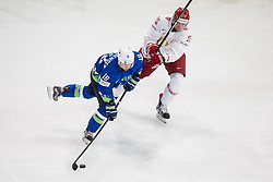 Ken Ograjensek of Slovenia vs Oleg Yevenko of Belarus during the 2017 IIHF Men's World Championship group B Ice hockey match between National Teams of Slovenia and Belarus, on May 13, 2017 in AccorHotels Arena in Paris, France. Photo by Vid Ponikvar / Sportida