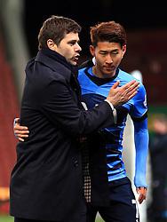 Tottenham Hotspur Manager Mauricio Pochettino celebrates with Son Heung-Min of Tottenham Hotspur  - Mandatory by-line: Matt McNulty/JMP - 18/04/2016 - FOOTBALL - Britannia Stadium - Stoke, England - Stoke City v Tottenham Hotspur - Barclays Premier League
