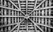 Sri Lanka. <br /> Looking up into rafters of a tiled roof.