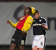 Dundee&rsquo;s Darren O&rsquo;Dea and Partick Thistle's Adebayo Azeez challenge for the ball in the air - Partick Thistle v Dundee in the Ladbrokes Scottish Premiership at Firhill, Glasgow - Photo: David Young, <br /> <br />  - &copy; David Young - www.davidyoungphoto.co.uk - email: davidyoungphoto@gmail.com