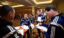 NEWPORT, WALES - Friday, May 29, 2015: Trust staff during the Football Association of Wales' National Coaches Conference 2015 at the Celtic Manor Resort. (Pic by David Rawcliffe/Propaganda)