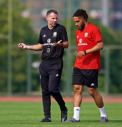 NANNING, CHINA - Wednesday, March 21, 2018: Wales' new manager Ryan Giggs and captain Ashley Williams during a training session at the Guangxi Sports Centre ahead of the opening 2018 Gree China Cup International Football Championship match against China. (Pic by David Rawcliffe/Propaganda)