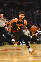 January 28, 2019 - Los Angeles, CA, U.S. - LOS ANGELES, CA - JANUARY 28: Atlanta Hawks Guard Trae Young (11) drives to the basket during a NBA game between the Atlanta Hawks and the Los Angeles Clippers on January 28, 2019 at STAPLES Center in Los Angeles, CA. (Photo by Brian Rothmuller/Icon Sportswire) (Credit Image: © Brian Rothmuller/Icon SMI via ZUMA Press)