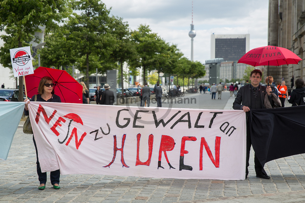 Berlin, Germany - 07.07.2016<br /> <br /> Sex workers protest under the slogan &rdquo;my body, my bed sheet, my work!&quot; against the planned prostitutes protection act (ProstschutzG) in front of the Bundestag on the occasion of the second and third reading of the law.<br /> <br /> Sexworker-Protest unter dem Motto&quot;Mein Koerper, mein Bettlaken, mein Arbeitsplatz!&rdquo; gegen das Prostituiertenschutzgesetzes (ProstschutzG) vor dem Bundestag anlaesslich der zweiten und dritten Lesung des Gesetzes.<br /> <br /> Photo: Bjoern Kietzmann