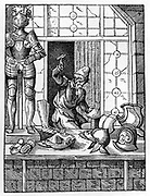 The Armourer.  Armourer in his workshop is using hammer to shape a piece of armour.  On display in front of his shop are items he has made, including a full suit of armour.  Woodcut by Jost Amman (1535-1591) Swiss engraver.