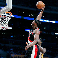 26 March 2016: Portland Trail Blazers forward Noah Vonleh (21) goes for the dunk during the Portland Trail Blazers 97-81 victory over the Los Angeles Lakers, at the Staples Center, Los Angeles, California, USA.