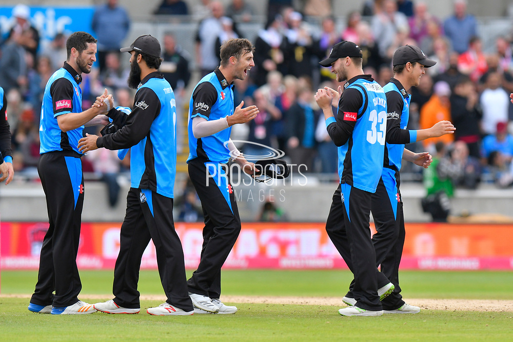 The Worcestershire Rapids players celebrate beating Lancashire to reach the final during the Vitality T20 Finals Day Semi Final 2018 match between Worcestershire Rapids and Lancashire Lightning at Edgbaston, Birmingham, United Kingdom on 15 September 2018.