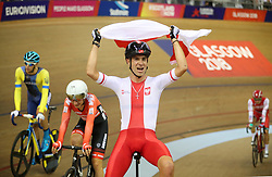 Poland's Wojciech Pszczolarski celebrates winning the Gold Medal in the Mens 40km Points Race during day four of the 2018 European Championships at the Sir Chris Hoy Velodrome, Glasgow. PRESS ASSOCIATION Photo. Picture date: Sunday August 5, 2018. See PA story CYCLING European. Photo credit should read: Jane Barlow/PA Wire. RESTRICTIONS: Editorial use only, no commercial use without prior permission