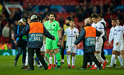 MANCHESTER, ENGLAND - Tuesday, February 12, 2019: A Manchester United steward series to stop Paris Saint-Germain's goalkeeper Gianluigi Buffon from walking towards the away supporters after the UEFA Champions League Round of 16 1st Leg match between Manchester United FC and Paris Saint-Germain at Old Trafford. PSG won 2-0. (Pic by David Rawcliffe/Propaganda)