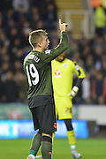 Everton's striker Gerard Deulofeu celebrates his goal during the Capital One Cup match between Reading and Everton at the Madejski Stadium, Reading, England on 22 September 2015. Photo by Mark Davies.