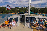 Tourist Catamaran cruising on the lake near Zephyr Cove Beach, Lake Tahoe, Nevada