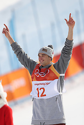 PYEONGCHANG, Feb. 18, 2018  Nick Goepper of the United States celebrates after the men's ski slopestyle of freestyle skiing at the 2018 PyeongChang Winter Olympic Games, at Phoenix Snow Park, South Korea, on Feb. 18, 2018. Nick Goepper won the silver medal with 93.60 points. (Credit Image: © Wu Zhuang/Xinhua via ZUMA Wire)