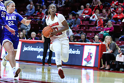 NORMAL, IL - January 06: Te Te Maggett guarded by Hannah Fuller during a college women's basketball game between the ISU Redbirds and the Drake Bulldogs on January 06 2019 at Redbird Arena in Normal, IL. (Photo by Alan Look)