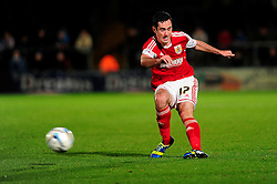 Bristol City's Greg Cunningham takes a shot at goal. - Photo mandatory by-line: Joe Dent/JMP - Tel: Mobile: 07966 386802 08/10/2013 - SPORT - FOOTBALL - London Road Stadium - Peterborough - Peterborough United V Brentford - Johnstone Paint Trophy