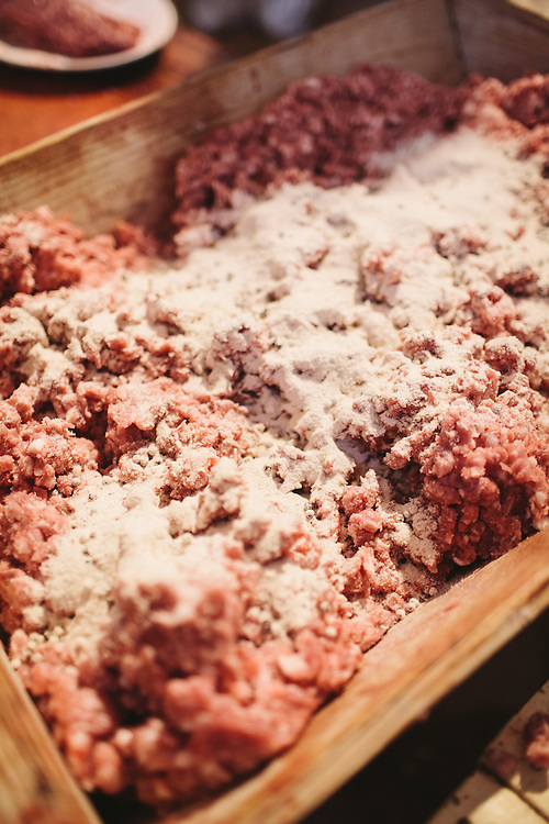 Sea Salt is mixed in Iberico pork sausage meet.