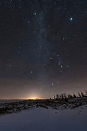 The stars, Milky Way, and constellations of the northern winter sky, including the Winter Hexagon of bright stars, and the Winter Triangle of Betelgeuse, Sirius and Procyon, in a wide-angle shot from the snowy horizon to Capella nearly at the zenith. Orion is at centre. His Belt point up to Taurus and down to Canis Major and Sirius. The Beehive Cluster is at lower left, while the Pleiades is at upper right. <br /> <br /> There are deer tracks in the snow. <br /> <br /> With the 14mm Sigma Art lens at f/2 for 20 seconds at ISO 3200, with the ground a stack of 4 exposures to smooth noise. All untracked. Shot from home January 13, 2018, on a mild winter night at -8&deg; C or so. Diffraction spikes added with Astronomy Tools actions.