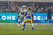 Jan 12, 2019; Los Angeles, CA, USA;  Dallas Cowboys running back Amari Cooper (19) is defended by Los Angeles Rams cornerback Aqib Talib (21) during an NFL divisional playoff game at the Los Angeles Coliseum. The Rams beat the Cowboys 30-22. (Kim Hukari/Image of Sport)